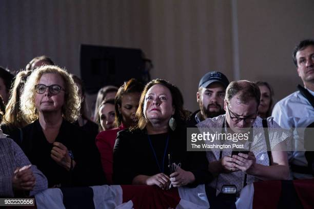 Supporters listen as Democrat candidate Conor Lamb gives his victory speech at the Hilton Garden Inn PittsburghSouthpointe after winning the...
