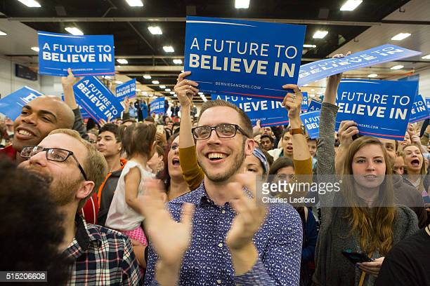 Supporters listen as Democratic presidential candidate US Sen Bernie Sanders speaks in the Activities and Recreation Center on the campus of the...