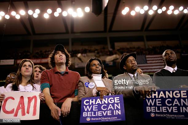 Supporters listen as Democratic presidential hopeful Senator Barack Obama arrives at a campaign rally at the University of Maryland in College Park