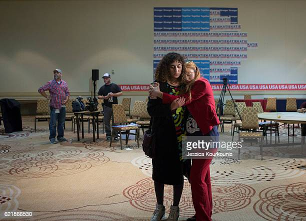 Supporters listen as Democratic Senate candidate Katie McGinty concedes at her election night event at the Sheraton Hotel on November 8 2016 in...