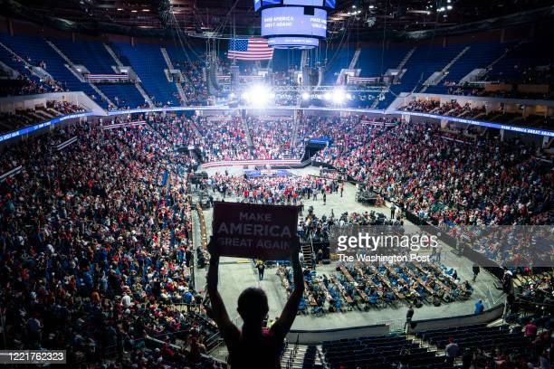 "Supporters listen as Lara Trump speaks before President Donald J. Trump arrives for a ""Make America Great Again!"" rally at the BOK Center on..."