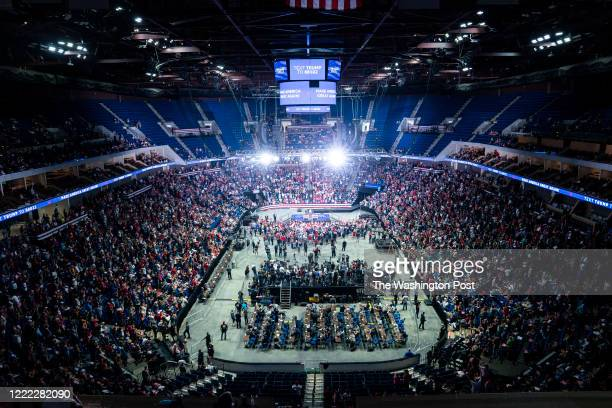 Supporters listen as Lara Trump speaks before President Donald J Trump arrives for a Make America Great Again rally at the BOK Center on Saturday...