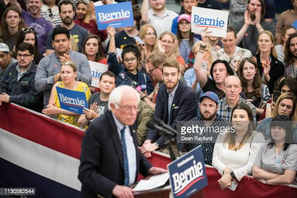 Supporters listen to 2020 Democratic presidential candidate US Sen Bernie Sanders as he addresses the crowd at the Royal Family Life Center on March...