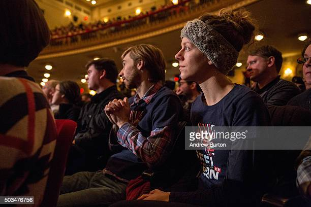 Supporters listen to Democratic presidential candidate Sen Bernie Sanders as he outlines his plan to reform the US financial sector on January 5 2016...