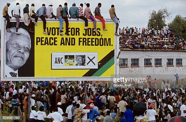 Supporters listen to Nelson Mandela at a campaign event After more then 27 years in jail as an antiapartheid activist Nelson Mandela lead a 1994...