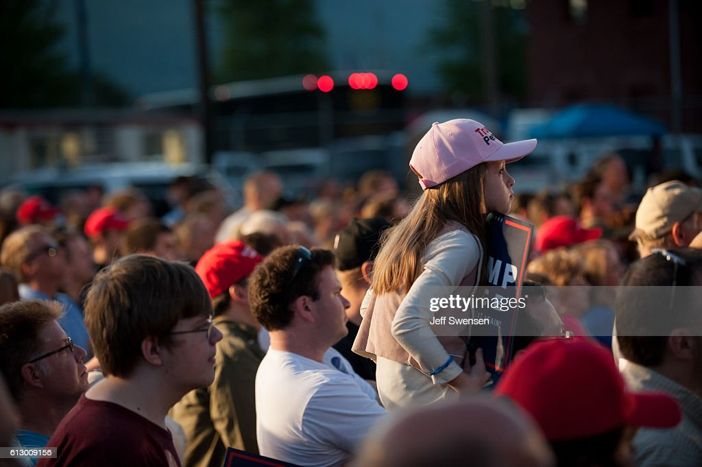 Supporters listen to Republican candidate for Vice President Mike Pence as he speaks to close to 250 supporters at a rally at JWF Industries in Johnstown, Pennsylvania on October 6, 2016. Johnstown, Pennsylvania, with a population of 25,000 has been a traditionally democratic stronghold shifting to republican with a shrinking tax base and lost jobs, beginning in the 1970s, when 13,000 people lost their jobs at Bethlehem Steel, which now the location of JWF Industries.