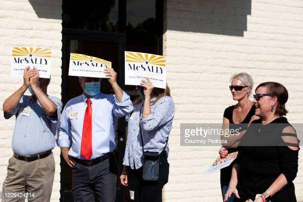 Supporters listen to Republican U.S. Senate candidate Sen. Martha McSally speak at the AZGOP Headquarters on November 2, 2020 in Phoenix, Arizona....