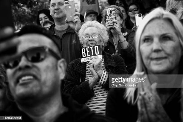 Supporters listen to US Senate candidate Rep Beto O'u2019Rourke as he addresses a campaign rally at Wayne Frady Park November 2 2018 in Lewisville...