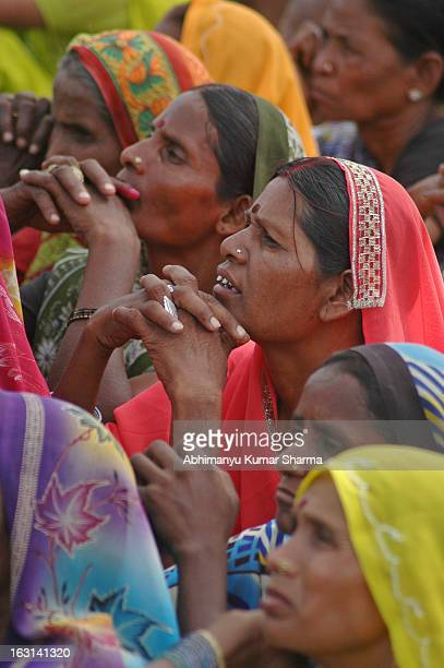 "Supporters listening the speech of BSP president and ex chief minister of Utter Pradesh ""Mayawati"" during an election rally at a Collage ground in..."
