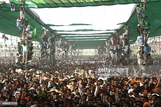INLD supporters listening to former Haryana chief minister and INLD supremo Om Prakash Chautala during a rally organised to mark the 100th birth...