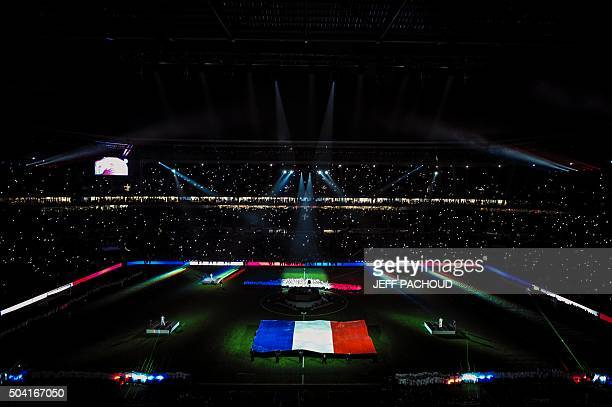 Supporters look at a show after the the French L1 football match Olympique Lyonnais vs Troyes on January 9 at the New Stadium in DecinesCharpieu...
