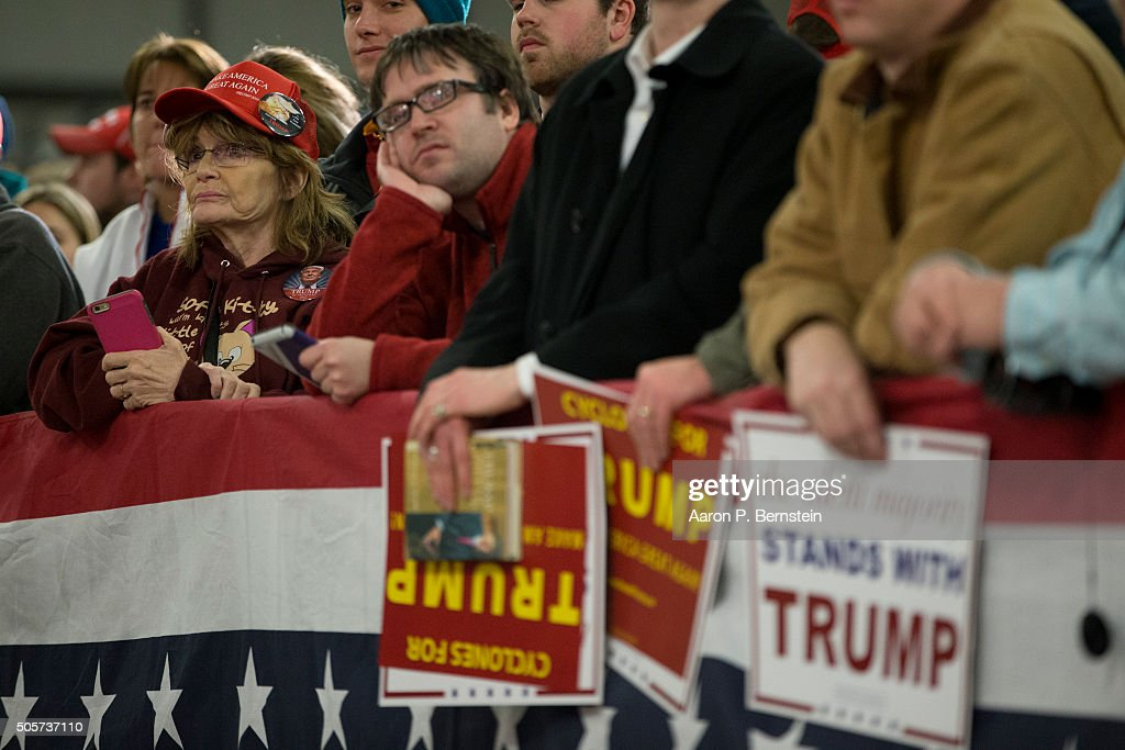 Supporters look on as Republican presidential candidate Donald Trump speaks at Hansen Agriculture Student Learning Center at Iowa State University on January 19, 2016 in Ames, IA. Trump received the endorsement of former Alaska Gov. Sarah Palin.
