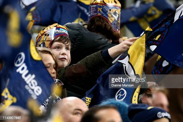 Supporters look on during the round 10 Super Rugby match between the Highlanders and the Blues at Forsyth Barr Stadium on April 20, 2019 in Dunedin,...