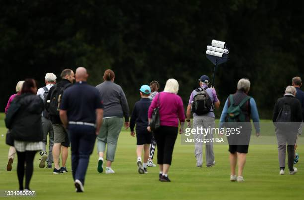 Supporters make their way down the fairway during the Final of the R&A Girls Amateur Championship at Fulford Golf Club on August 14, 2021 in York,...