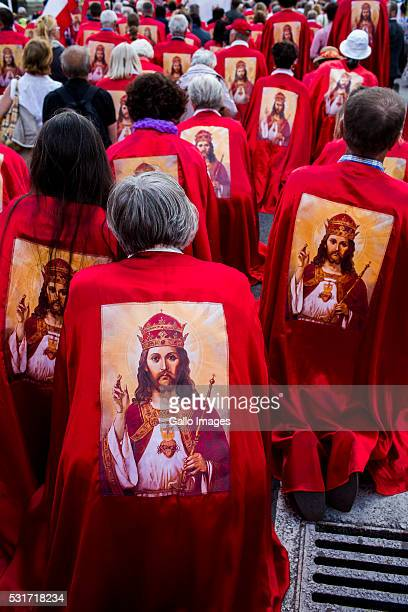 Supporters March for the Enthronement of Jesus as a King of Poland on May 12 2016 in Warsaw Believers led by father Natanek walked through downtown...