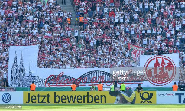 Supporters of 1 FC Koeln are seen during the DFB Cup first round match between BFC Dynamo and 1 FC Koeln at Olympiastadion on August 19 2018 in...