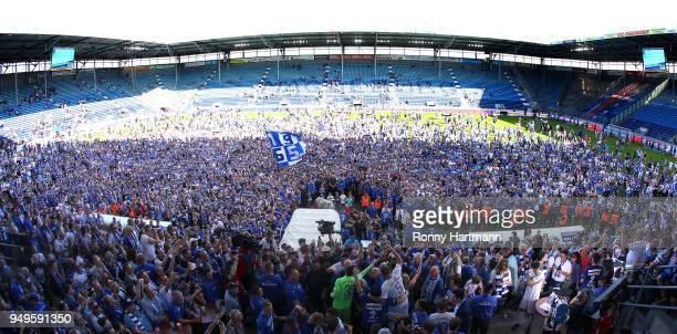 Supporters of 1 FC Magdeburg celebrate their Second Bundesliga promotion after the 3 Liga match between 1 FC Magdeburg and SC Fortuna Koeln at...