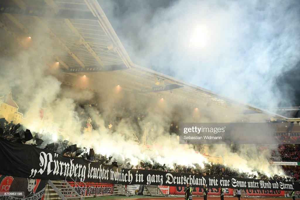 Supporters of 1.FC Nuernberg show a choreography prior to the Second Bundesliga match between 1. FC Nuernberg and FC Ingolstadt 04 at Max-Morlock-Stadion on November 6, 2017 in Nuremberg, Germany.