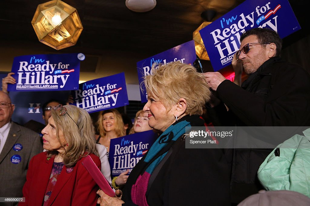 Supporters of a Hillary Rodham Clinton's yet to be announced presidential campaign participate in a rally in Manhattan on April 11, 2015 in New York City. It is expected that Clinton will end months of speculation and launch her anticipated 2016 presidential campaign on Sunday with an announcement on social media. Following that it is believed that candidate Clinton will travel to Iowa and New Hampshire, seeking to connect directly with voters in more intimate settings.