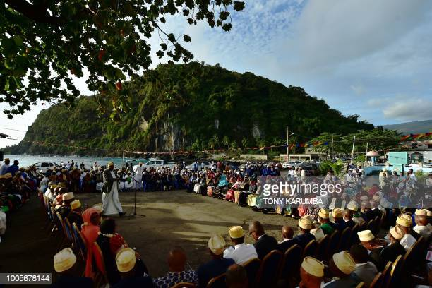 Supporters of a planned national referendum by the administration of sitting President Azali Assoumani attend a proreferendum rally on July 26 2018...