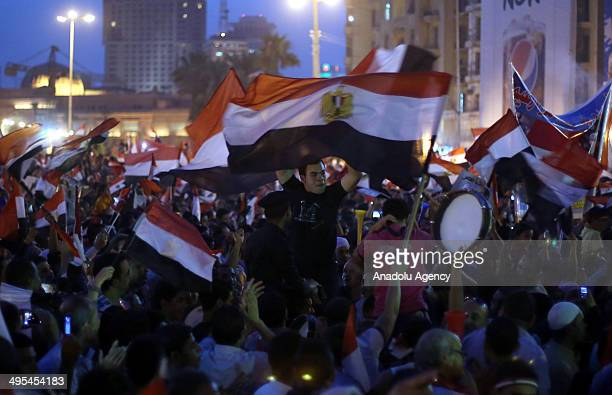 Supporters of AbdelFatah alSisi gather at Tahrir square after Egypt's electoral commission declared Sisi as the new president of Egypt on June 03...