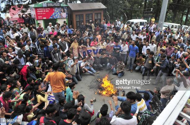 Supporters of ABVP protest against rape and murder of Kotkhai girl at Mall road on July 20 2017 in Shimla India For a fortnight now the...