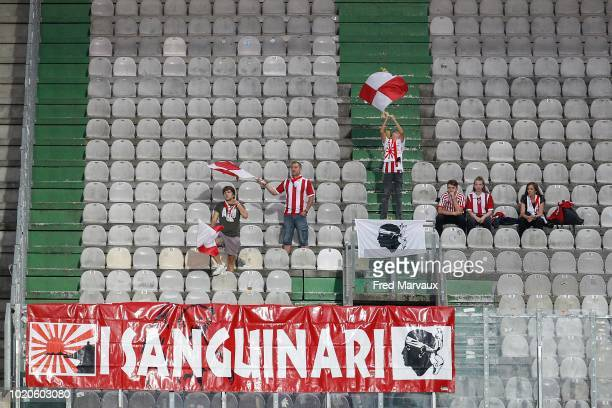 supporters of AC Ajaccio during the French Ligue 2 match between FC Metz and AC Ajaccio at Stade SaintSymphorien on August 20 2018 in Metz France