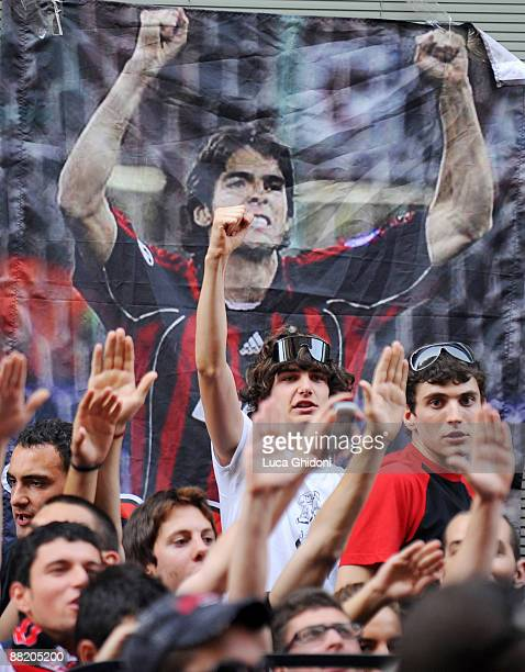 Supporters of AC Milan demonstrate in front of the headquarters of the club to protest against the possible transfer of Kaka to Real Madrid on June 4...