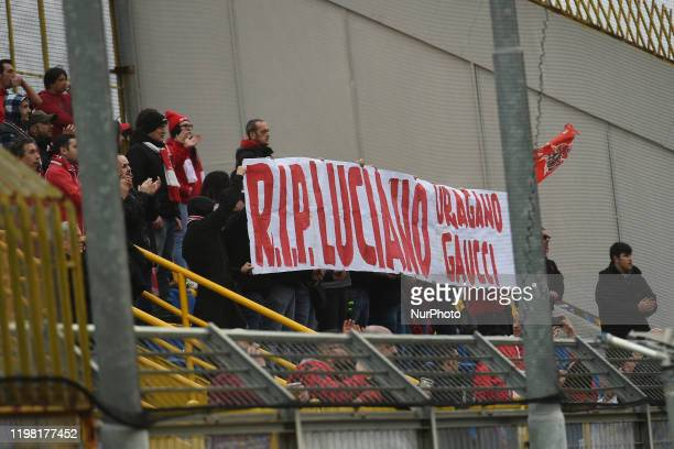Supporters of AC Perugia show a banner for Luciano Gaucci during the Serie B match between Juve Stabia and AC Perugia at Stadio Romeo Menti...