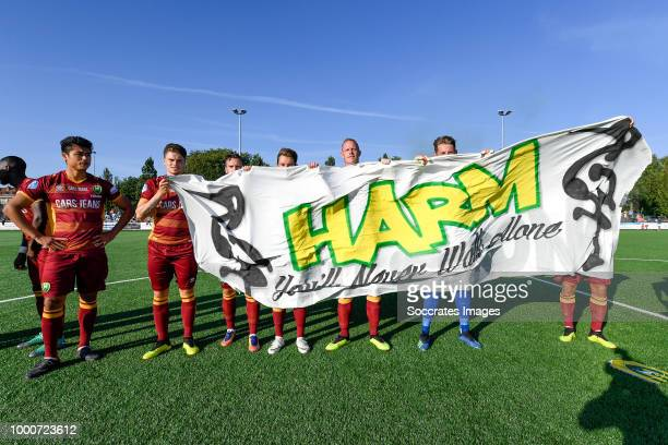 supporters of ADO Den Haag during the Club Friendly match between ADO Den Haag v FC Dordrecht at the Sportpark laakkwartier on July 17 2018 in Den...