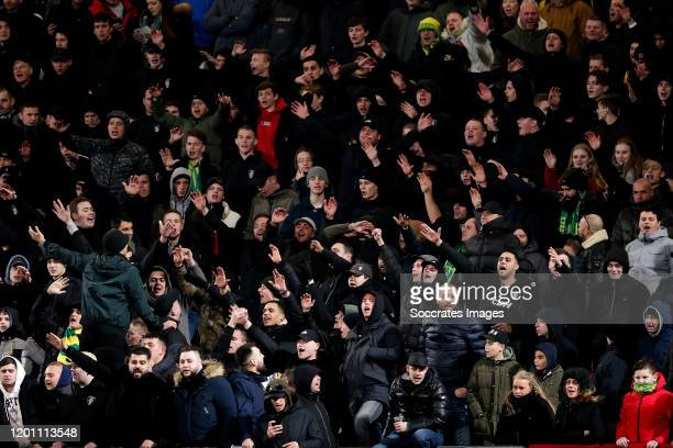 supporters of ADO Den Haag during the Dutch Eredivisie match between ADO Den Haag v PSV at the Cars Jeans Stadium on February 15 2020 in Den Haag...