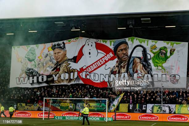 Supporters of ADO Den Haag with banner, stadium during the Dutch Eredivisie match between ADO Den Haag v RKC Waalwijk at the Cars Jeans Stadium on...
