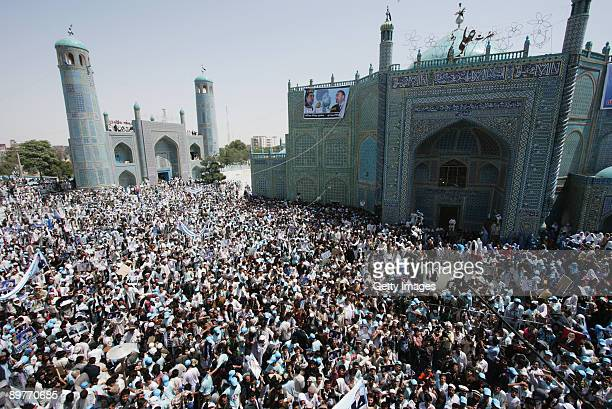Supporters of Afghan candidate Abdullah Abdullah gather at an election rally in front of the Blue Mosque on August 13 2009 in MazarESharif...