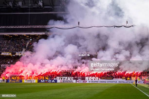 Supporters of AIK set off flares att the start of the second half during the Allsvenskan match between AIK and BK Hacken at Friends arena on April 2...