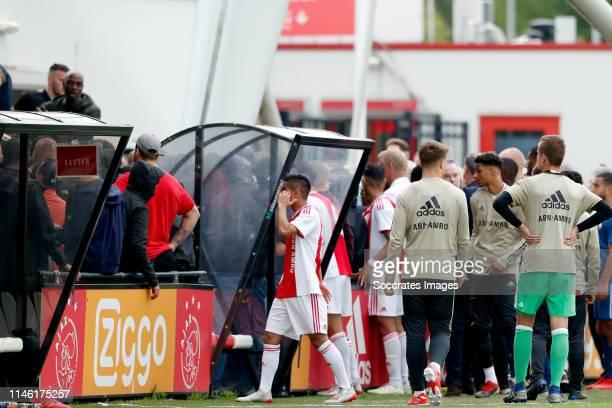 supporters of Ajax U19 Anass Salah Eddine of Ajax U19 during the match between Ajax U19 v Feyenoord U19 at the De Toekomst on May 25 2019 in...