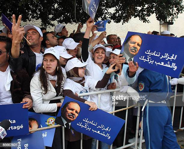 Supporters of Algerian President Abdelaziz Bouteflika gather during an election campaign rally on March 27 2009 in TiziOuzou 100 km east of Algiers...