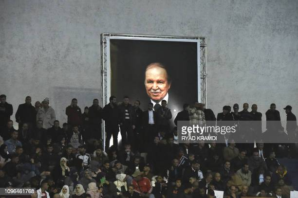 Supporters of Algeria's National Liberation Front party, gather at La Coupole arena in the capital Algiers on February 9 to call upon the current...