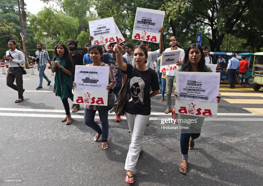 AISA Protest Against Alleged Fake Degree Of DU President Ankiv Basoya