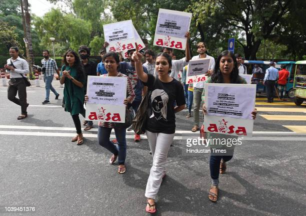 Supporters of All India Students Association protest against Ankiv Basoya over fake degree outside Delhi University North Campus on September 24 2018...