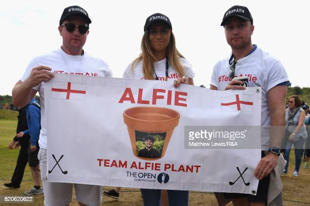 Supporters of Amateur Alfie Plant of England pose with a banner during the third round of the 146th Open Championship at Royal Birkdale on July 22...