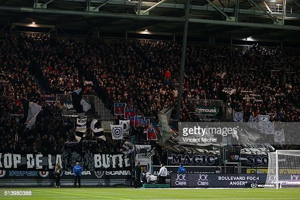 Supporters of Angers during the French Ligue 1 match between Angers SCO v AS SaintEtienne at Stade JeanBouin on March 5 2016 in Angers France