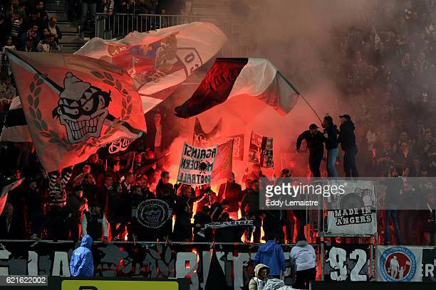Supporters of Angers during the Ligue 1 match between Angers SCO and Lille OSC on November 5 2016 in Angers France