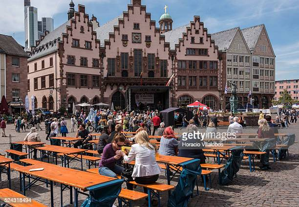 Supporters of anti nazi movements gather in front of City Hall in Roemerberg Frankfurt 08 May 2015 to commemorate the 70th anniversary of the end of...