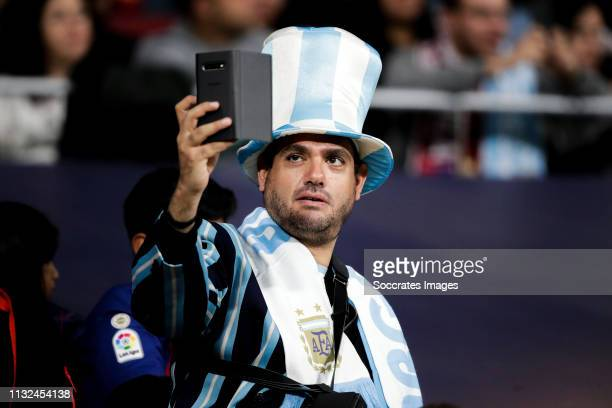 supporters of Argentina during the International Friendly match between Argentina v Venezuela at the Estadio Wanda Metropolitano on March 22 2019 in...