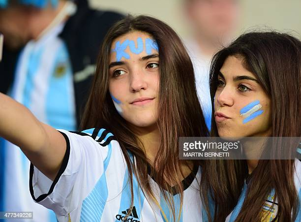 Supporters of Argentina wait for the start of the 2015 Copa America football championship match between Argentina and Uruguay in La Serena Chile on...