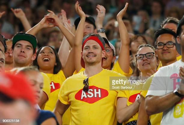 Supporters of Ashleigh Barty of Australia show their support after she won her second round match against Camila Giorgi of Italy on day four of the...