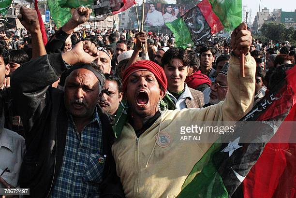 Supporters of assassinated former premier Benazir Bhutto's Pakistan People's Party shout slogans during a protest in Lahore 29 December 2007 Around...