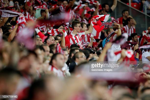supporters of Athletic Bilbao during the La Liga Santander match between Athletic de Bilbao v SD Huesca at the Estadio San Mames on August 27 2018 in...