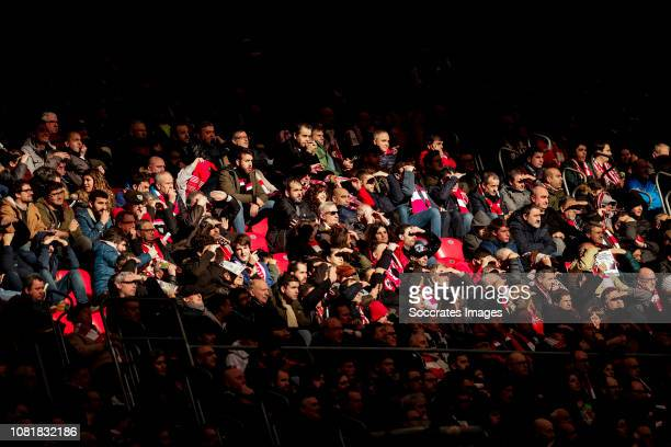 Supporters of Athletic Bilbao during the La Liga Santander match between Athletic de Bilbao v Sevilla at the Estadio San Mames on January 13 2019 in...