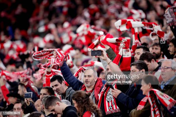 supporters of Athletic Bilbao during the Spanish Copa del Rey match between Athletic de Bilbao v Granada at the Estadio San Mames on February 12 2020...